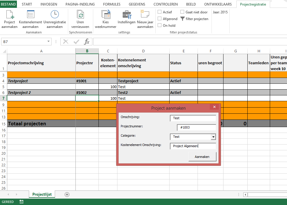 Urenregistratie in Excel