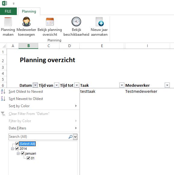 werkplanning in Excel
